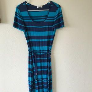 Calvin Klein Maxi Dress in Blue Stripes